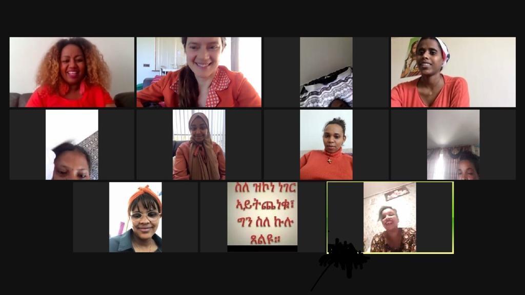 zoom-bijeenkomst met Eritrese zwangeren tijdens Koningsdag